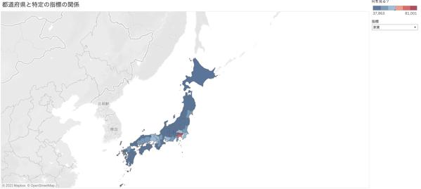 都道府県と特定の指標の関係